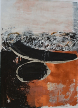 "Boat II - 29""x22"" framed mixed media, collage on paper"