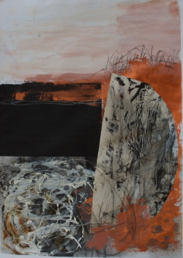"""Boat 1 - 29""""x22"""" Acrylic, mixed media and collage on paper"""